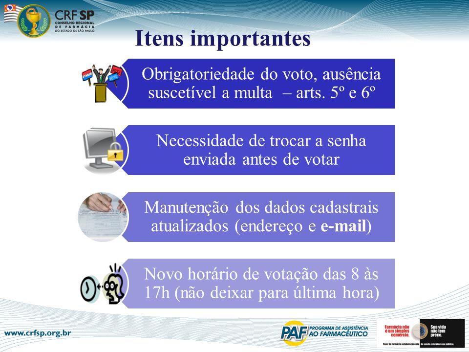 Itens importantes Obrigatoriedade do voto, ausência suscetível a multa – arts. 5º e 6º Necessidade de trocar a senha enviada antes de votar Manutenção