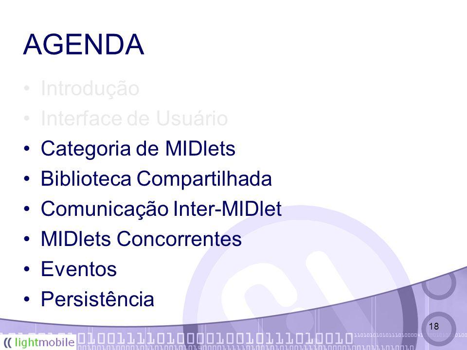 18 AGENDA Introdução Interface de Usuário Categoria de MIDlets Biblioteca Compartilhada Comunicação Inter-MIDlet MIDlets Concorrentes Eventos Persistência