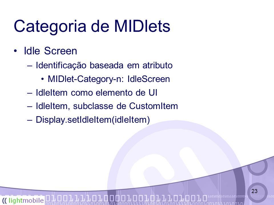 23 Categoria de MIDlets Idle Screen –Identificação baseada em atributo MIDlet-Category-n: IdleScreen –IdleItem como elemento de UI –IdleItem, subclasse de CustomItem –Display.setIdleItem(idleItem)