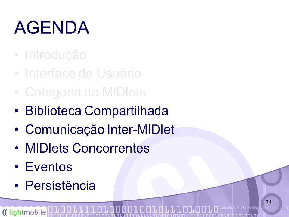 24 AGENDA Introdução Interface de Usuário Categoria de MIDlets Biblioteca Compartilhada Comunicação Inter-MIDlet MIDlets Concorrentes Eventos Persistência