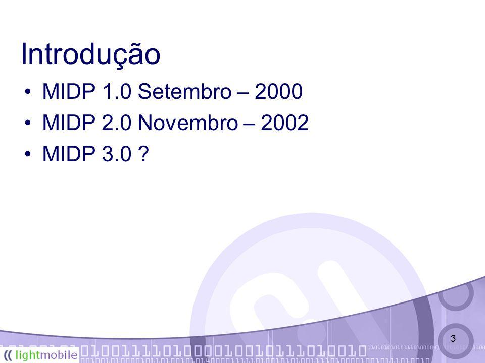 3 Introdução MIDP 1.0 Setembro – 2000 MIDP 2.0 Novembro – 2002 MIDP 3.0 ?
