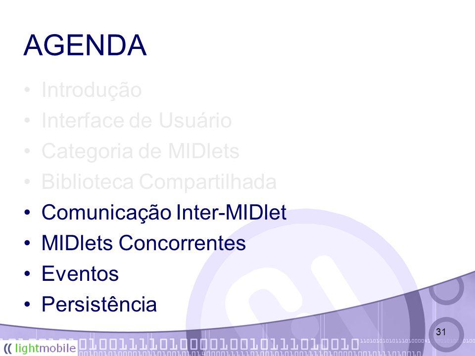 31 AGENDA Introdução Interface de Usuário Categoria de MIDlets Biblioteca Compartilhada Comunicação Inter-MIDlet MIDlets Concorrentes Eventos Persistência