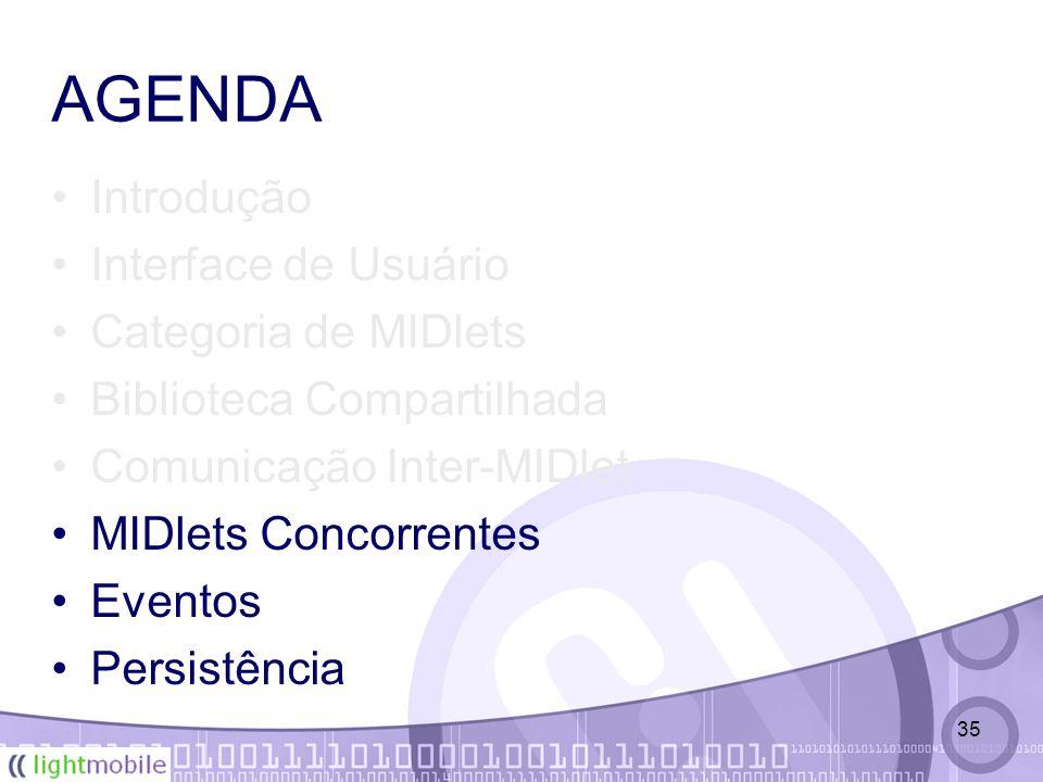35 AGENDA Introdução Interface de Usuário Categoria de MIDlets Biblioteca Compartilhada Comunicação Inter-MIDlet MIDlets Concorrentes Eventos Persistência