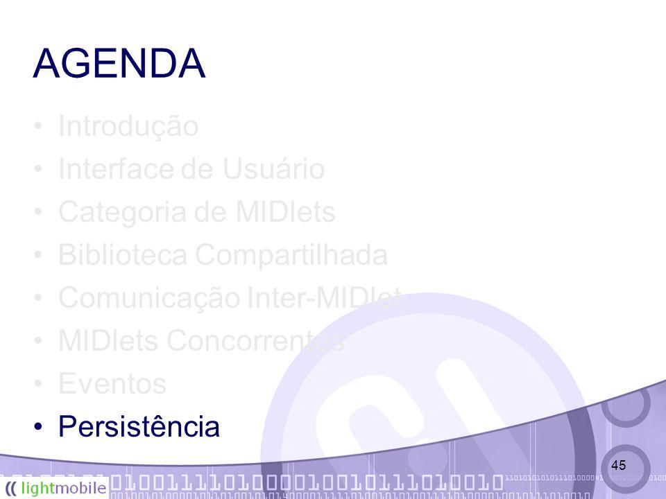 45 AGENDA Introdução Interface de Usuário Categoria de MIDlets Biblioteca Compartilhada Comunicação Inter-MIDlet MIDlets Concorrentes Eventos Persistência
