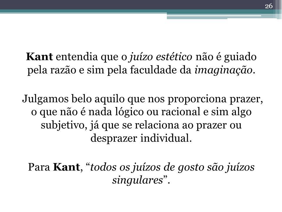 Kant entendia que o juízo estético não é guiado pela razão e sim pela faculdade da imaginação.