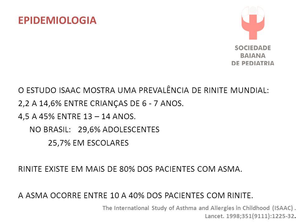 EPIDEMIOLOGIA O ESTUDO ISAAC MOSTRA UMA PREVALÊNCIA DE RINITE MUNDIAL: 2,2 A 14,6% ENTRE CRIANÇAS DE 6 - 7 ANOS.