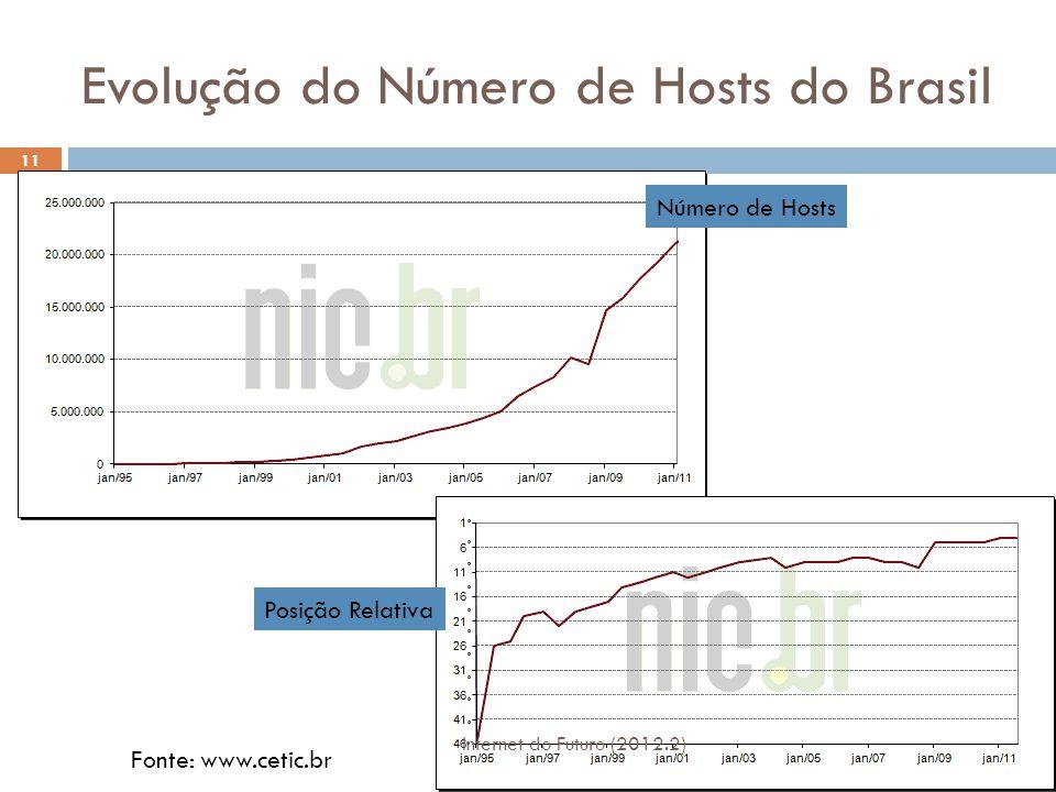 Internautas Domiciliares Ativos e Horas Navegadas Internet do Futuro (2012.2) 12 Fonte: www.cetic.br