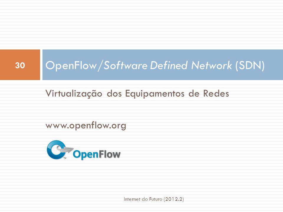 Milhões de linhas de código fonte 5389 RFCsBarreira para novos fabricantes 500M portas 10Gbytes RAM InchadoGrande consumo de energia Muitas funções complexas integradas na infraestrutura OSPF, BGP, multicast, serviços diferenciados, Engenharia de Tráfego, NAT, firewalls, MPLS, camadas redundantes, … Roteadores atuais Datapath em Hardware Datapath em Hardware Roteador Software de Controle 31 Internet do Futuro (2012.2)