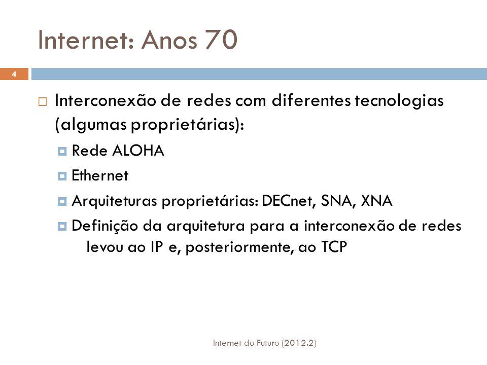 Internet: Anos 80  Implantação do TCP/IP  Surgimento de novos aplicativos/serviços/protocolos:  SMTP para correio eletrônico  DNS para tradução de nomes para endereços IP  Definição do Protocolo FTP  Novas redes nacionais :  CSnet, BITnet, NSFnet, Minitel.