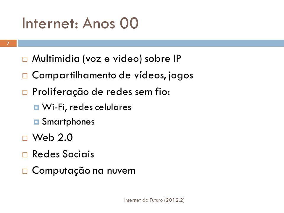 Internet: Anos 10 Internet do Futuro (2012.2) 8  Virtualização  Redes definidas por software (SDN)  Redes experimentais  Internet das Coisas (IoT – Internet of Things)  Redes Verdes  ?
