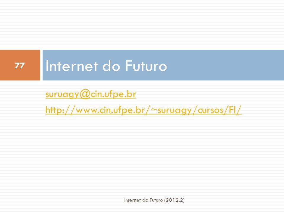 suruagy@cin.ufpe.br http://www.cin.ufpe.br/~suruagy/cursos/FI/ Internet do Futuro 77 Internet do Futuro (2012.2)