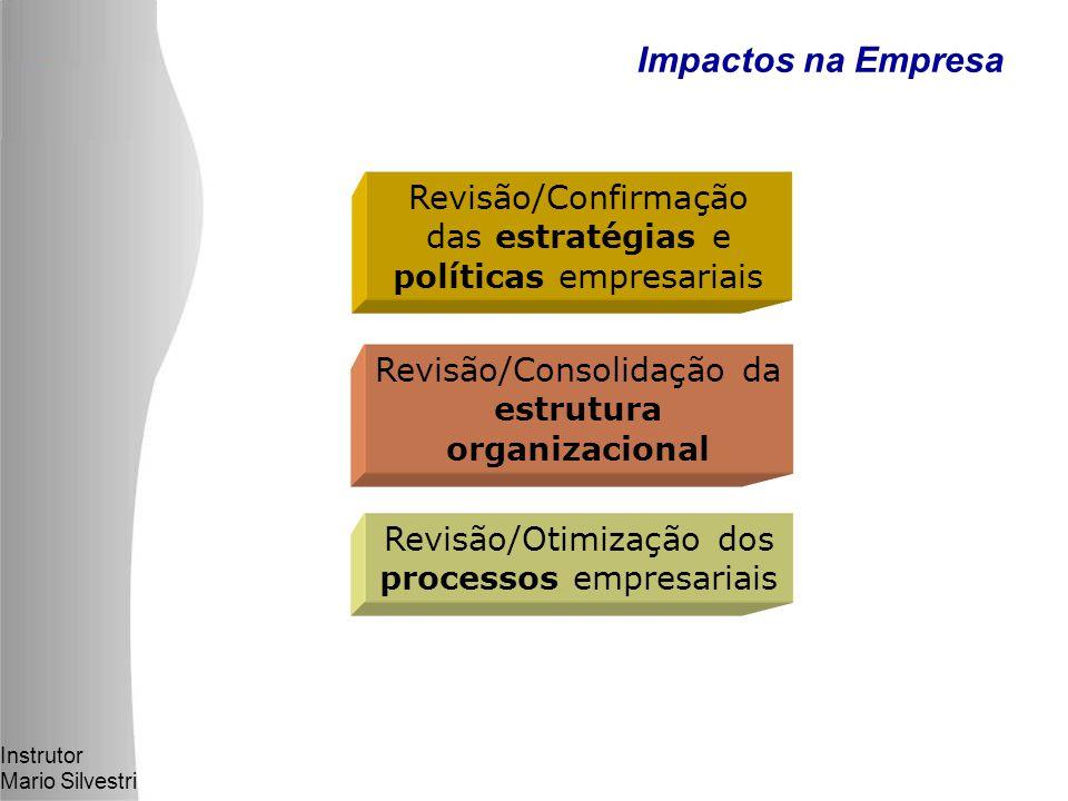 Instrutor Mario Silvestri Impactos na Empresa Revisão/Confirmação das estratégias e políticas empresariais Revisão/Consolidação da estrutura organizacional Revisão/Otimização dos processos empresariais