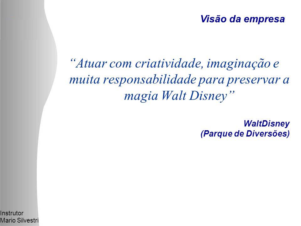 Instrutor Mario Silvestri WaltDisney (Parque de Diversões) Atuar com criatividade, imaginação e muita responsabilidade para preservar a magia Walt Disney Visão da empresa