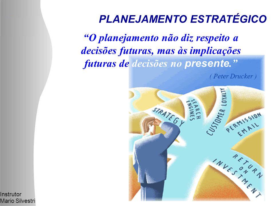 Instrutor Mario Silvestri PLANEJAMENTO ESTRATÉGICO O planejamento não diz respeito a decisões futuras, mas às implicações futuras de decisões no presente. ( Peter Drucker )