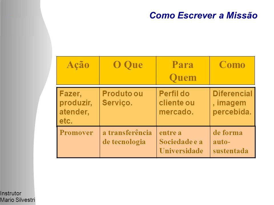 Instrutor Mario Silvestri Como Escrever a Missão AçãoO QuePara Quem Como Fazer, produzir, atender, etc.