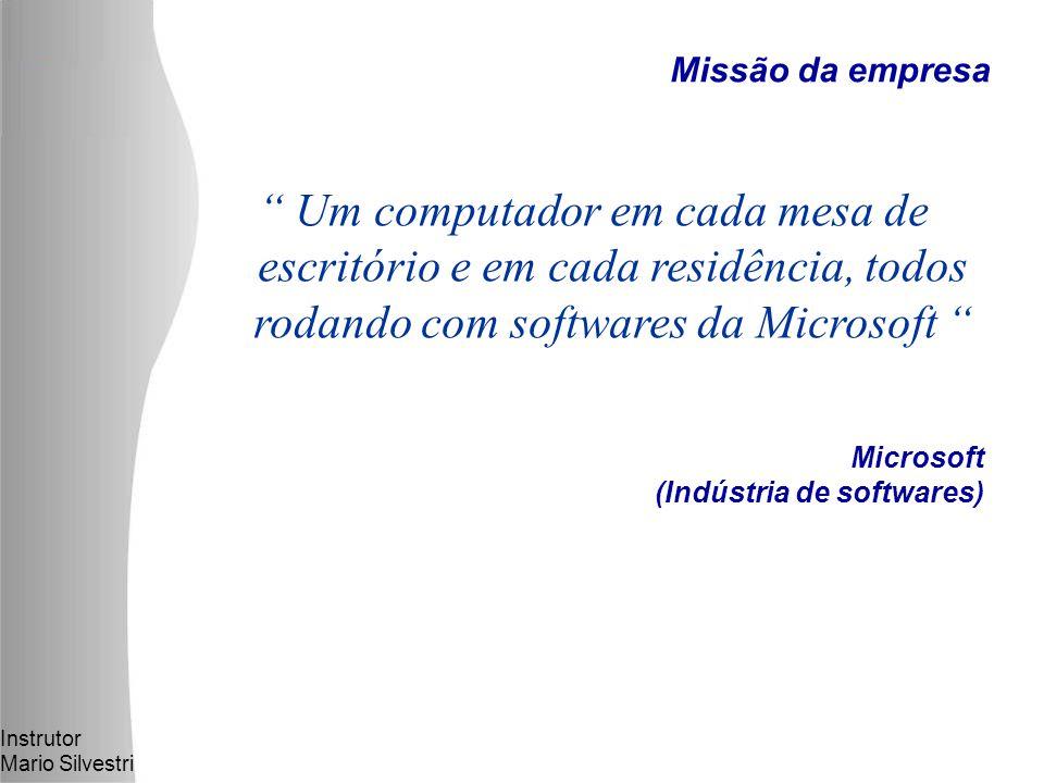 Instrutor Mario Silvestri Um computador em cada mesa de escritório e em cada residência, todos rodando com softwares da Microsoft Microsoft (Indústria de softwares) Missão da empresa
