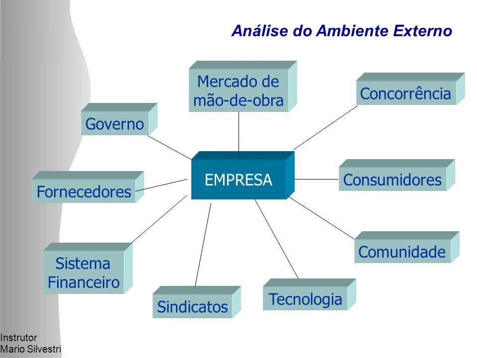 Instrutor Mario Silvestri EMPRESA Mercado de mão-de-obra Governo Concorrência Fornecedores Sistema Financeiro Sindicatos Tecnologia Consumidores Comunidade Análise do Ambiente Externo