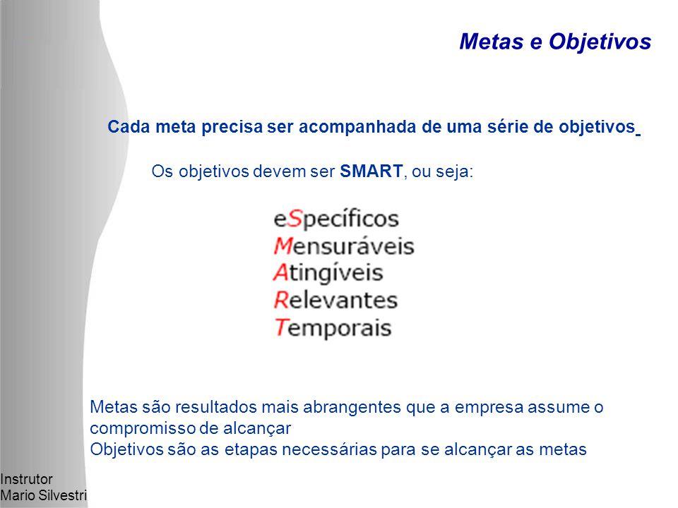 Instrutor Mario Silvestri Cada meta precisa ser acompanhada de uma série de objetivos Os objetivos devem ser SMART, ou seja: Metas são resultados mais abrangentes que a empresa assume o compromisso de alcançar Objetivos são as etapas necessárias para se alcançar as metas Metas e Objetivos