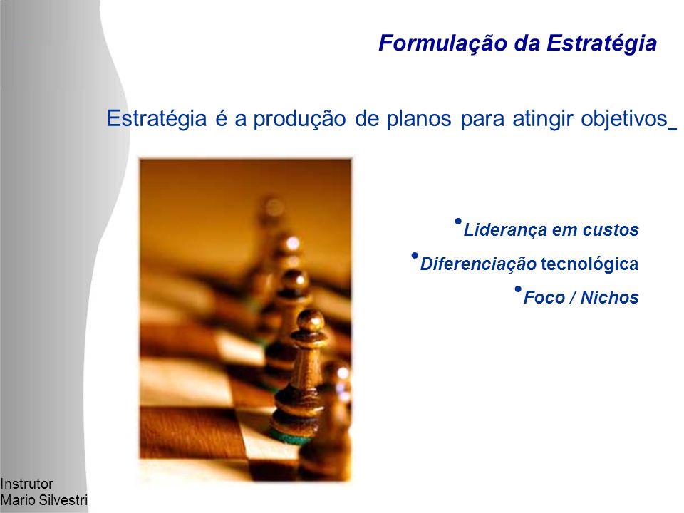 Instrutor Mario Silvestri Formulação da Estratégia Estratégia é a produção de planos para atingir objetivos Liderança em custos Diferenciação tecnológica Foco / Nichos