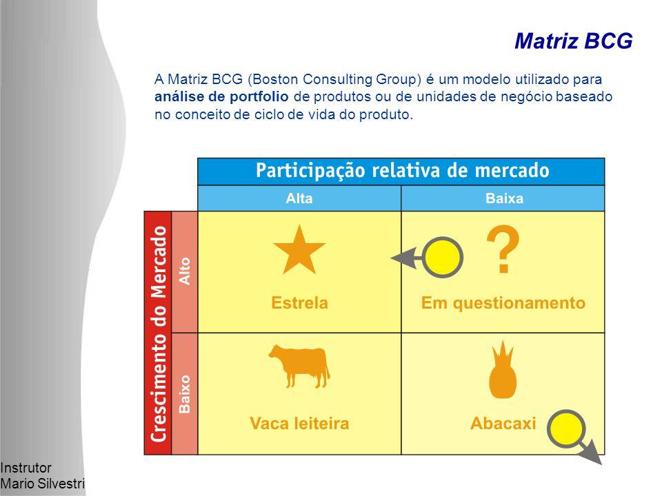 Instrutor Mario Silvestri Matriz BCG A Matriz BCG (Boston Consulting Group) é um modelo utilizado para análise de portfolio de produtos ou de unidades de negócio baseado no conceito de ciclo de vida do produto.