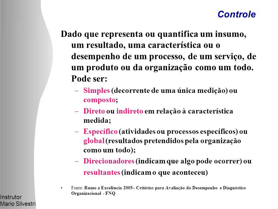 Instrutor Mario Silvestri Dado que representa ou quantifica um insumo, um resultado, uma característica ou o desempenho de um processo, de um serviço, de um produto ou da organização como um todo.