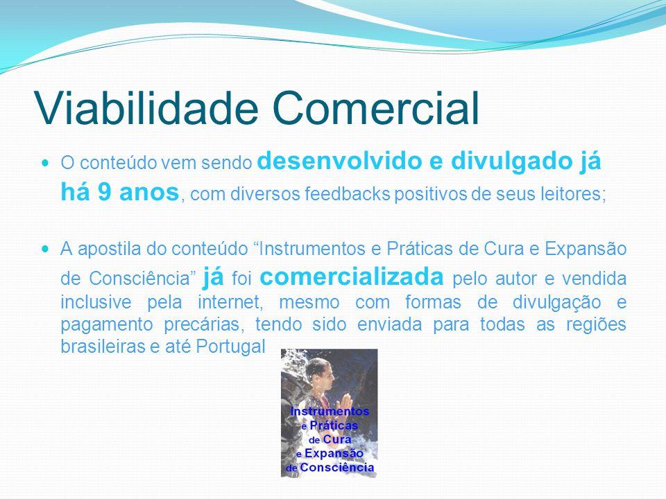 Viabilidade Comercial O conteúdo vem sendo desenvolvido e divulgado já há 9 anos, com diversos feedbacks positivos de seus leitores; A apostila do con