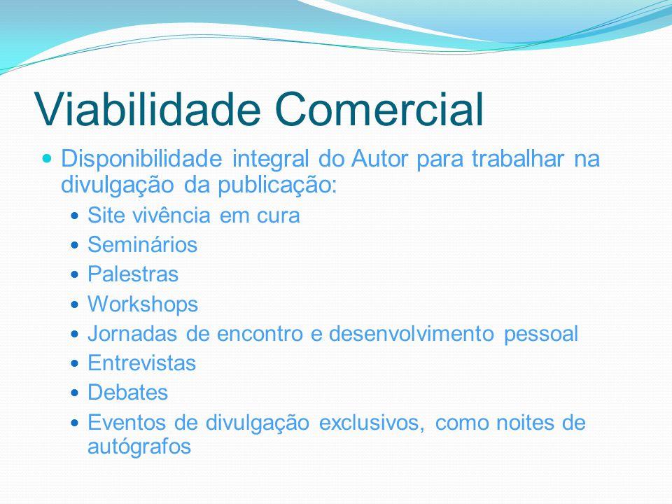 Viabilidade Comercial Disponibilidade integral do Autor para trabalhar na divulgação da publicação: Site vivência em cura Seminários Palestras Worksho