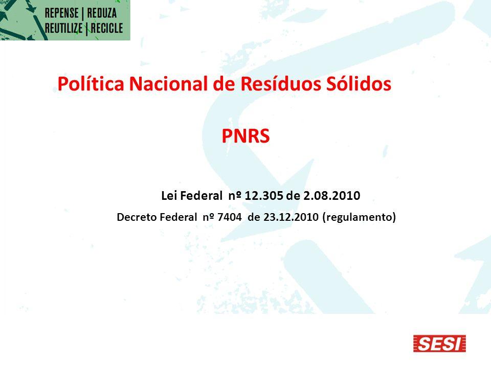 Política Nacional de Resíduos Sólidos PNRS Lei Federal nº 12.305 de 2.08.2010 Decreto Federal nº 7404 de 23.12.2010 (regulamento)