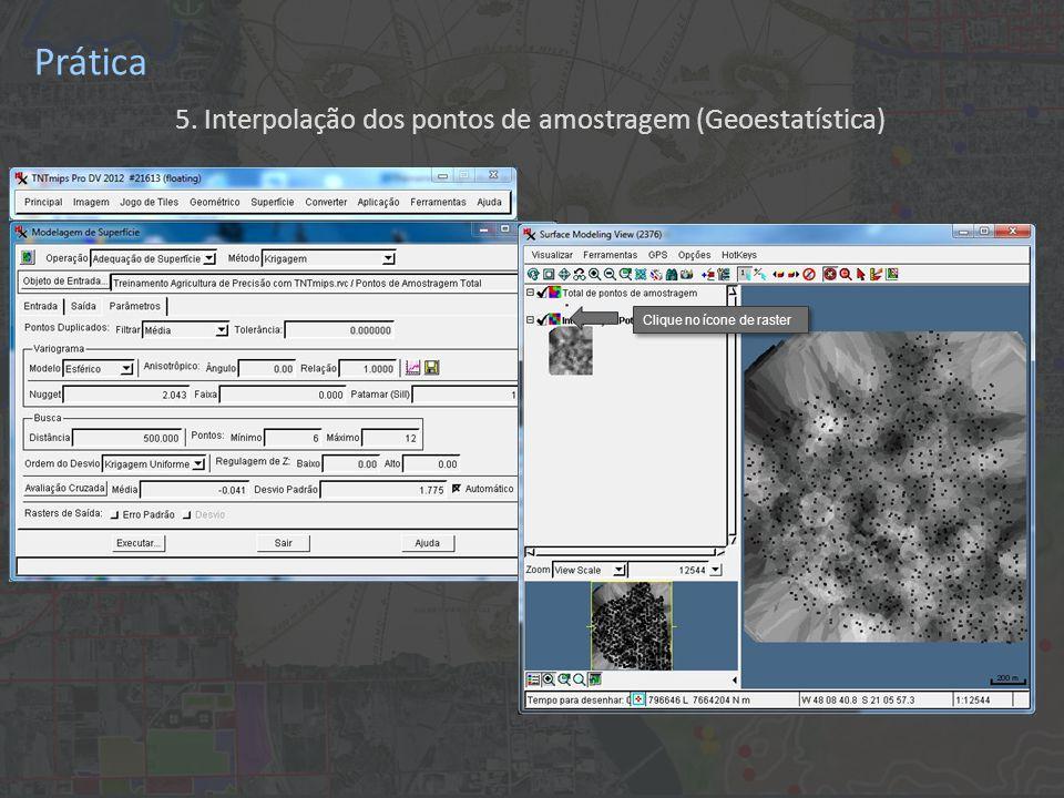 Prática 5. Interpolação dos pontos de amostragem (Geoestatística) Clique no ícone de raster