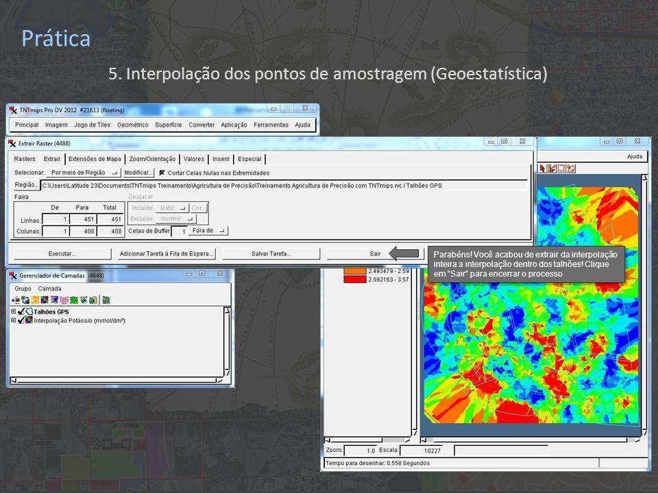 Prática 5.Interpolação dos pontos de amostragem (Geoestatística) Parabéns.