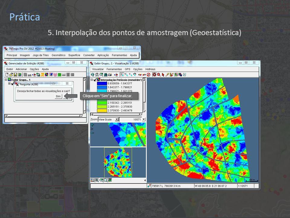 Prática 5. Interpolação dos pontos de amostragem (Geoestatística) Clique em Sim para finalizar.