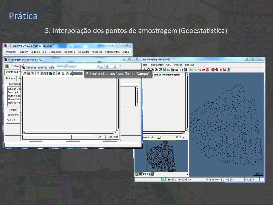 Prática 5. Interpolação dos pontos de amostragem (Geoestatística) Clique novamente em OK