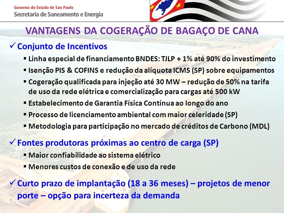 VANTAGENS DA COGERAÇÃO DE BAGAÇO DE CANA Conjunto de Incentivos  Linha especial de financiamento BNDES: TJLP + 1% até 90% do investimento  Isenção P