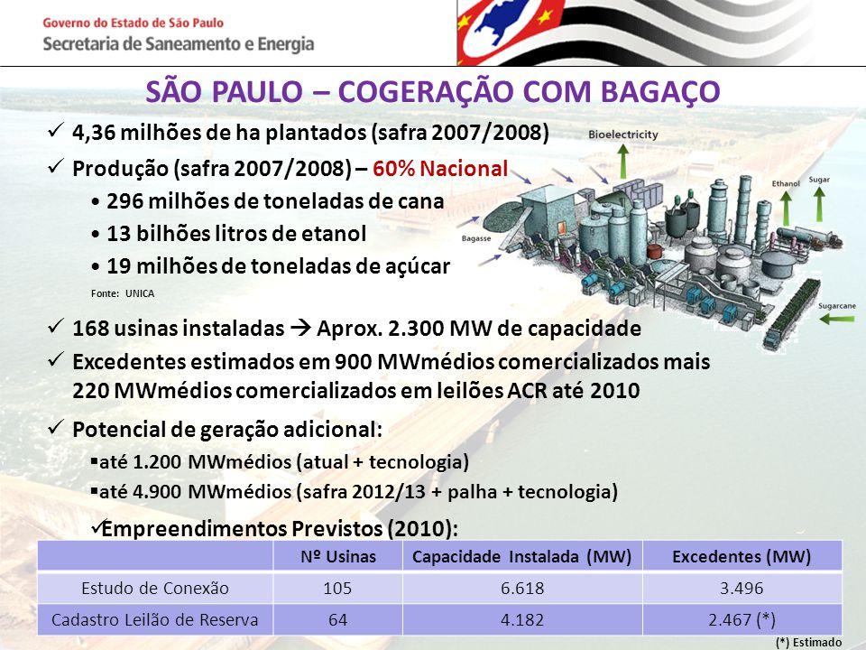 SÃO PAULO – COGERAÇÃO COM BAGAÇO 4,36 milhões de ha plantados (safra 2007/2008) Produção (safra 2007/2008) – 60% Nacional 296 milhões de toneladas de