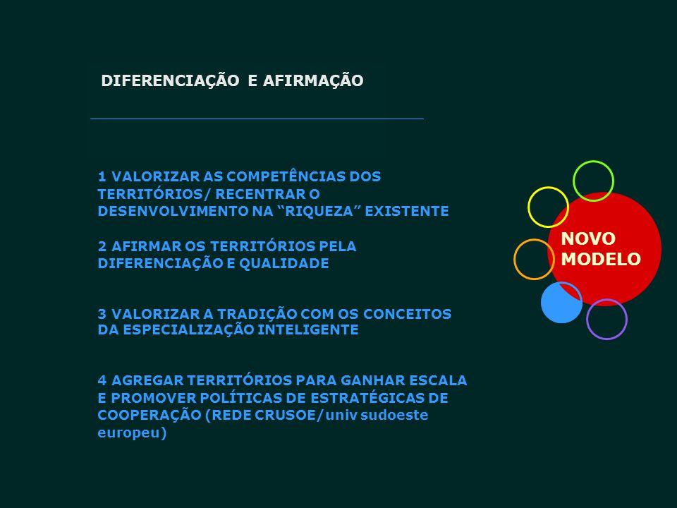 """NOVO MODELO DIFERENCIAÇÃO E AFIRMAÇÃO 1 VALORIZAR AS COMPETÊNCIAS DOS TERRITÓRIOS/ RECENTRAR O DESENVOLVIMENTO NA """"RIQUEZA"""" EXISTENTE 2 AFIRMAR OS TER"""