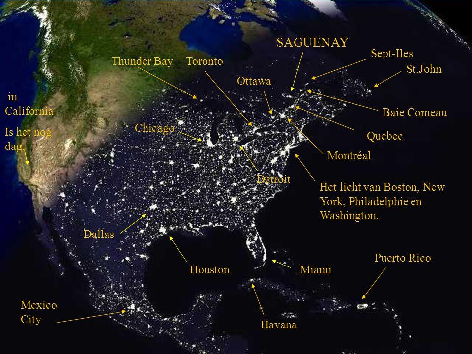 Foto van amerika S'nachts (licht zijn grote steden.)