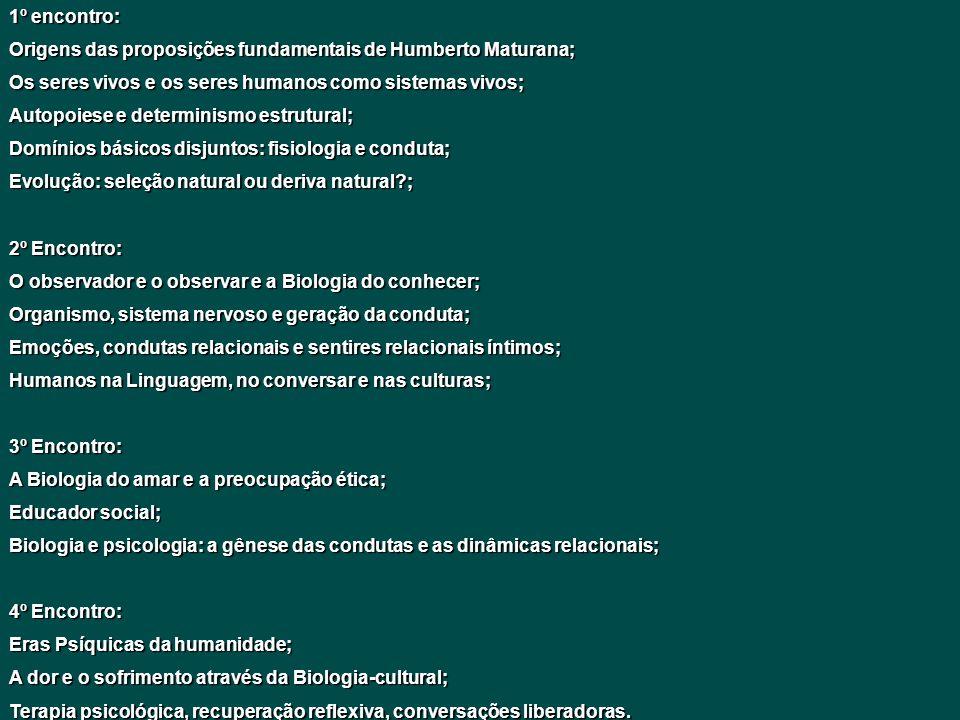 1º encontro: Origens das proposições fundamentais de Humberto Maturana; Os seres vivos e os seres humanos como sistemas vivos; Autopoiese e determinis