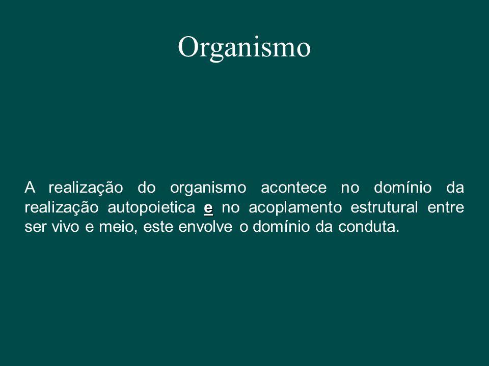 Organismo e A realização do organismo acontece no domínio da realização autopoietica e no acoplamento estrutural entre ser vivo e meio, este envolve o