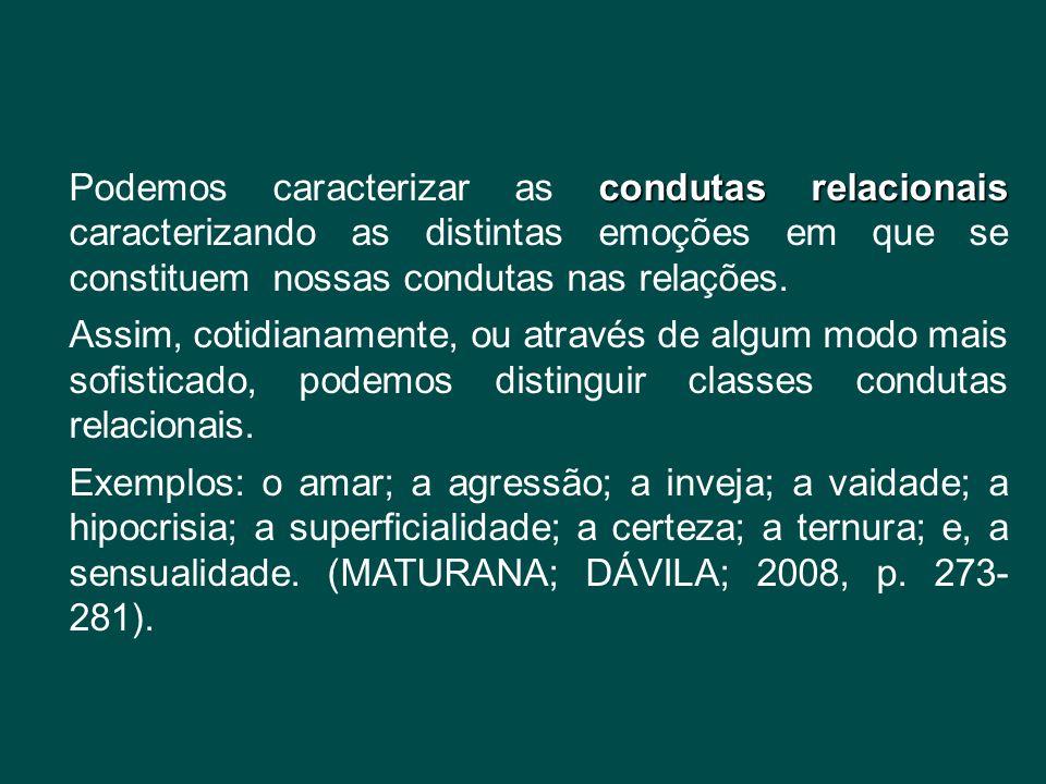 condutas relacionais Podemos caracterizar as condutas relacionais caracterizando as distintas emoções em que se constituem nossas condutas nas relaçõe