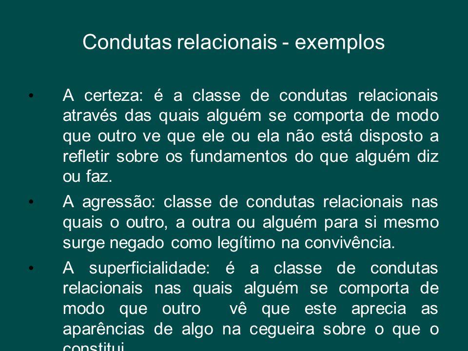 Condutas relacionais - exemplos • A certeza: é a classe de condutas relacionais através das quais alguém se comporta de modo que outro ve que ele ou e