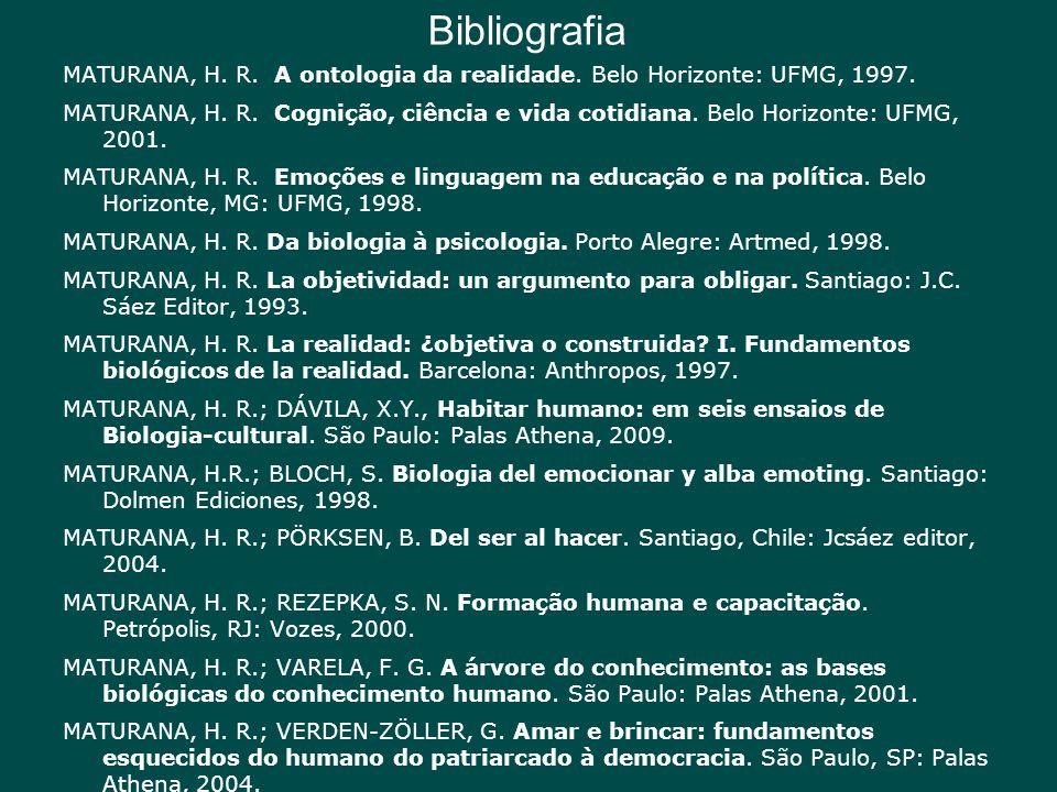 Bibliografia MATURANA, H. R. A ontologia da realidade. Belo Horizonte: UFMG, 1997. MATURANA, H. R. Cognição, ciência e vida cotidiana. Belo Horizonte:
