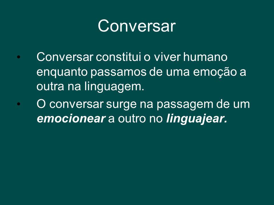 Conversar • Conversar constitui o viver humano enquanto passamos de uma emoção a outra na linguagem. • O conversar surge na passagem de um emocionear