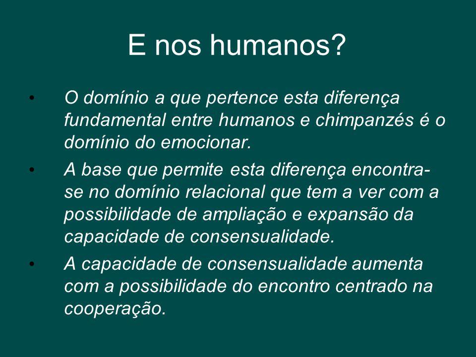 E nos humanos? • O domínio a que pertence esta diferença fundamental entre humanos e chimpanzés é o domínio do emocionar. • A base que permite esta di