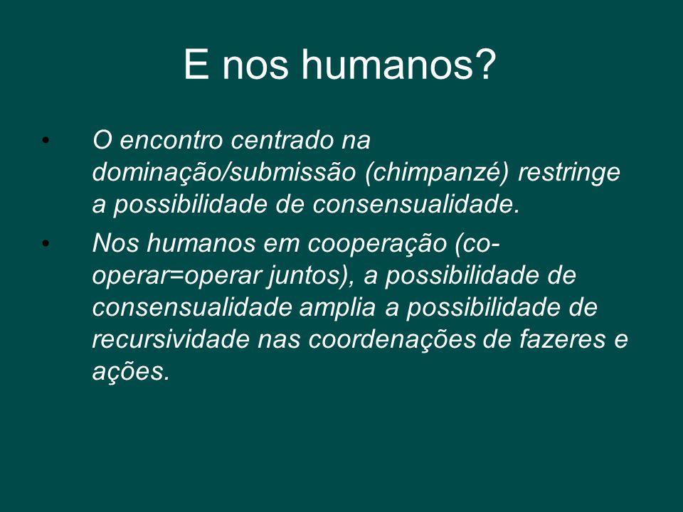 E nos humanos? • O encontro centrado na dominação/submissão (chimpanzé) restringe a possibilidade de consensualidade. • Nos humanos em cooperação (co-