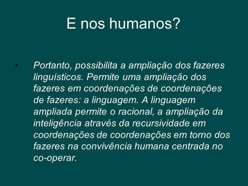 E nos humanos? • Portanto, possibilita a ampliação dos fazeres linguísticos. Permite uma ampliação dos fazeres em coordenações de coordenações de faze