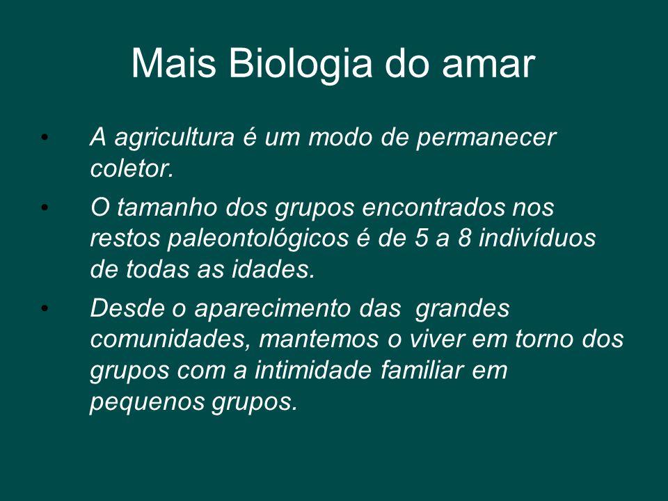 Mais Biologia do amar • A agricultura é um modo de permanecer coletor. • O tamanho dos grupos encontrados nos restos paleontológicos é de 5 a 8 indiví