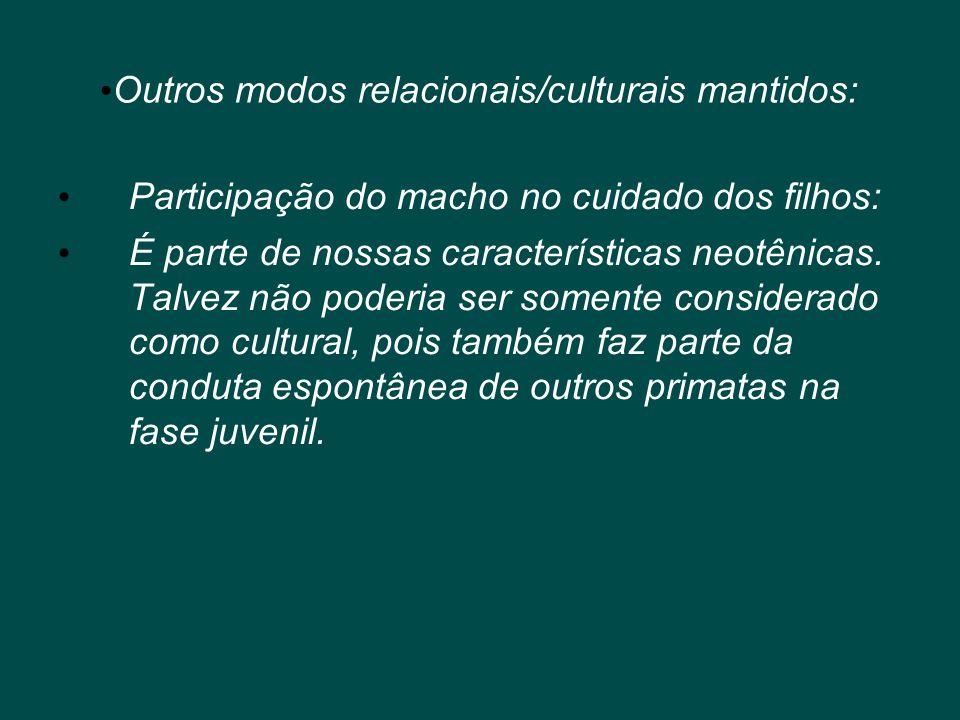 • Outros modos relacionais/culturais mantidos: • Participação do macho no cuidado dos filhos: • É parte de nossas características neotênicas. Talvez n