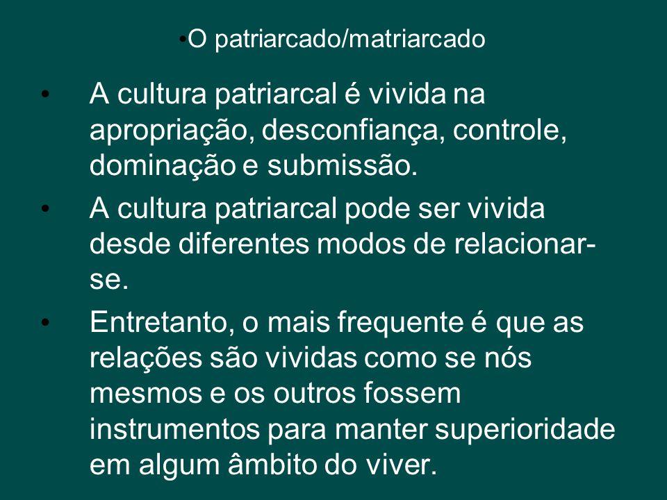 • O patriarcado/matriarcado • A cultura patriarcal é vivida na apropriação, desconfiança, controle, dominação e submissão. • A cultura patriarcal pode