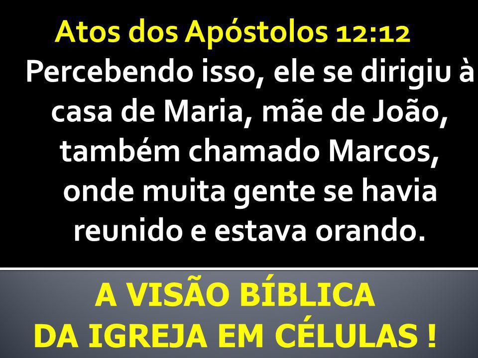 A VISÃO BÍBLICA DA IGREJA EM CÉLULAS ! Atos dos Apóstolos 12:12 Percebendo isso, ele se dirigiu à casa de Maria, mãe de João, também chamado Marcos, o