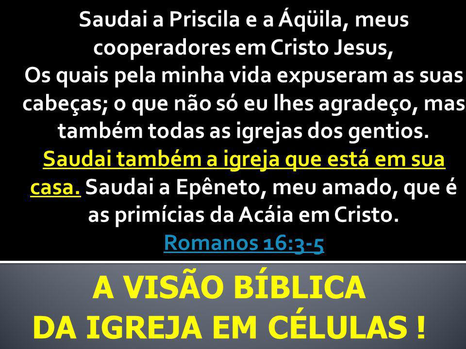 A VISÃO BÍBLICA DA IGREJA EM CÉLULAS ! Saudai a Priscila e a Áqüila, meus cooperadores em Cristo Jesus, Os quais pela minha vida expuseram as suas cab